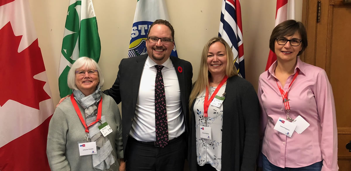 Johanna Trimble, Patients for Patient Safety Canada; MP Mark Strahl; Allison Kooijman, Patients for Patient Safety Canada; and Ioana Popescu, Canadian Patient Safety Institute