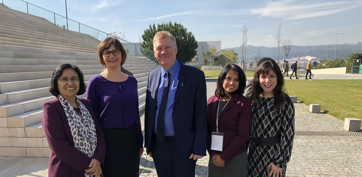 Attendees at the February 2019 WHO expert consultation meeting on patient engagement in Lisbon, Portugal (left to right): Dr. Neelam Dhingra-Kumar, WHO; Ioana Popescu, Canadian Patient Safety Institute; Sir Liam Donaldson, WHO; Katthyana Aparicio, WHO; and Sandi Kossey, Canadian Patient Safety Institute