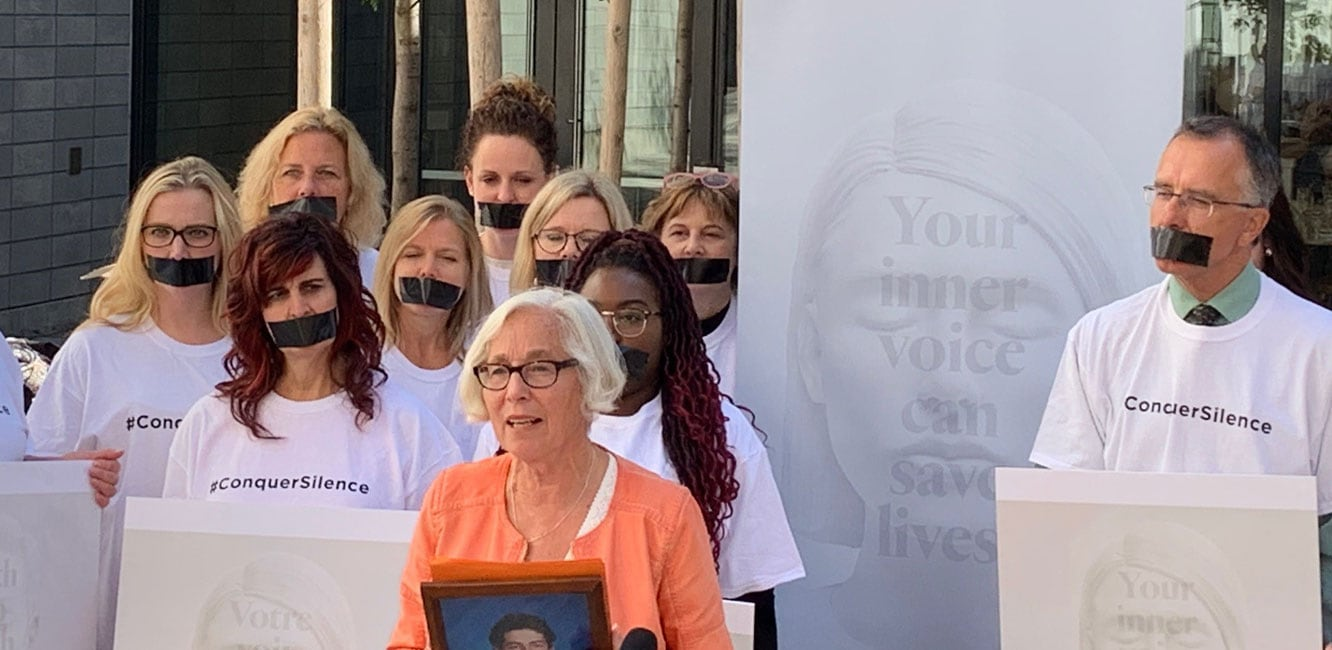 World Patient Safety Day – Patient advocate Theresa Malloy-Miller (front centre) addresses the media at the launch of the #ConquerSilence campaign